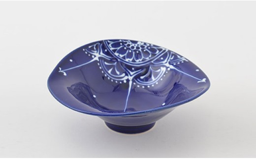 PA72 【波佐見焼】Lapis Lazuli Blueレース 変形中鉢5個セット【福田陶器店】-4