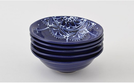 PA68 【波佐見焼】Lapis Lazuli Blueレース 丸小鉢5個セット【福田陶器店】-5