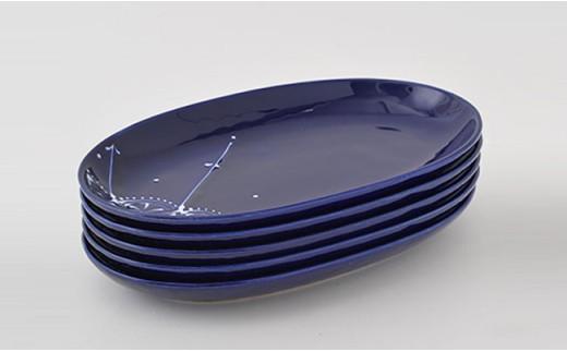 PA69 【波佐見焼】Lapis Lazuli Blueレース 楕円プレート5枚セット【福田陶器店】-5