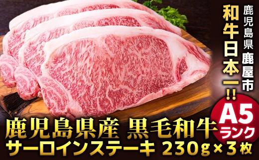 572 必見!!鹿児島県産黒毛和牛A5ランクサーロインステーキ230g×3枚
