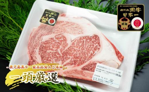 45-RO08_【小味のある美味しい牛肉】5等級鹿児島黒牛リブロースステーキセット