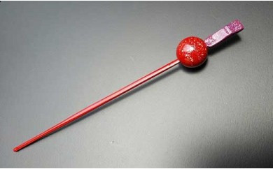 【一点物】漆塗りかんざし(銀粉蒔き)【約19cm】