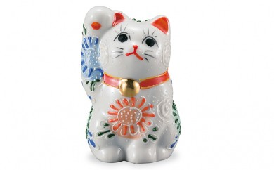 [№5784-0273]九谷焼 2.8号招き猫 白盛