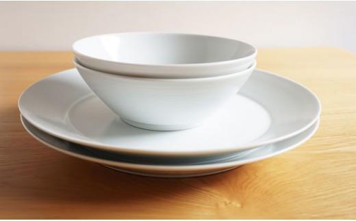 TA34 【2人分の食器】ミストホワイト 4ピースセット【白山陶器】【波佐見焼】-3