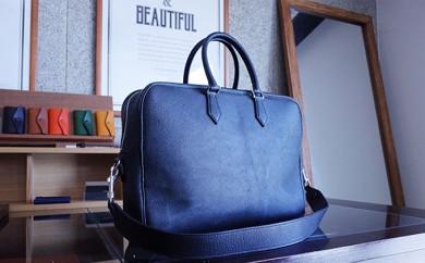 [№4631-1572]【GMYO LERTHER】猪革 手縫いビジネスバッグ(黒)
