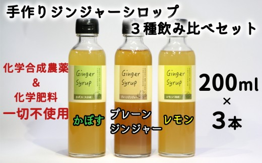 3種のフレーバーを贅沢に飲み比べ♪手作りジンジャーシロップ3種の飲み比べセット 計600ml