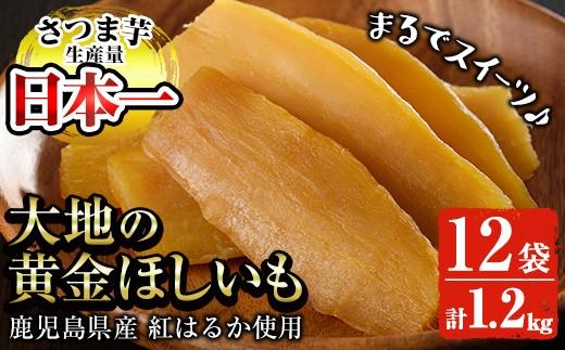 A-499 まるでスイートポテト?大地の黄金干し芋12袋 約1.2kg  無添加無着色!鹿児島県産紅はるか使用!