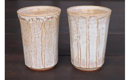 012-2101 宝殿焼 柿の木窯 ビアカップ 2個ペア