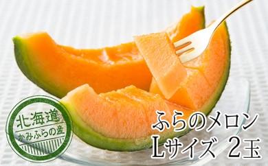 [№5543-0115]かみふらの赤肉メロンL(1.6kg以上)2玉セット