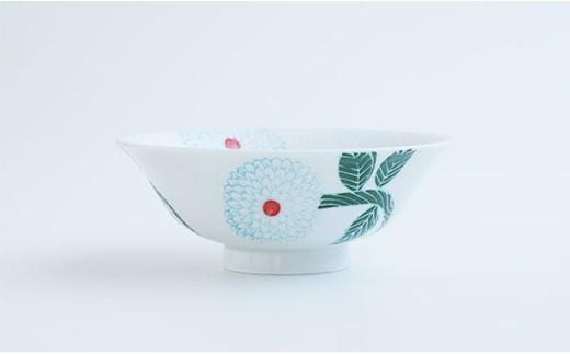 CD02 【波佐見焼】ダリア柄マルチ碗ペアセット(小皿付)【勲山製陶】-2
