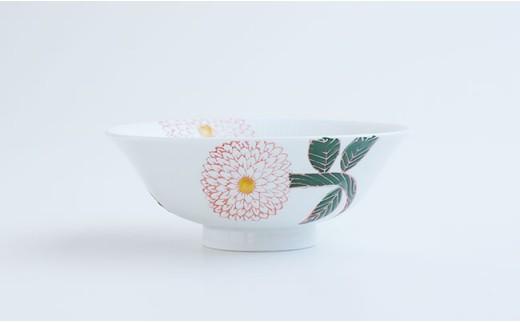 CD02 【波佐見焼】ダリア柄マルチ碗ペアセット(小皿付)【勲山製陶】-3