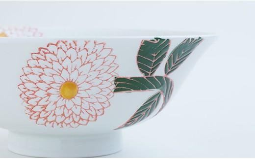 CD02 【波佐見焼】ダリア柄マルチ碗ペアセット(小皿付)【勲山製陶】-8