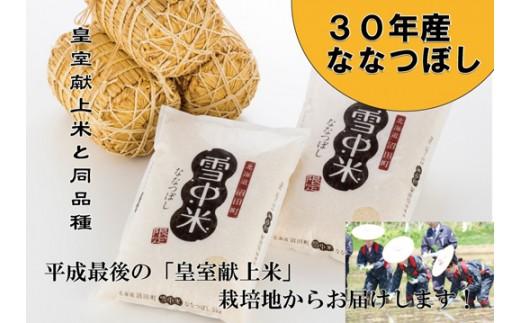 【110-05】30年産 雪中米(ななつぼし10㎏) 平成最後の「皇室献上米」の地からお届けします!!