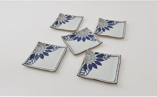 PA77 【波佐見焼】藍の器ブルーメ14cmプレート5枚セット【福田陶器店】-2