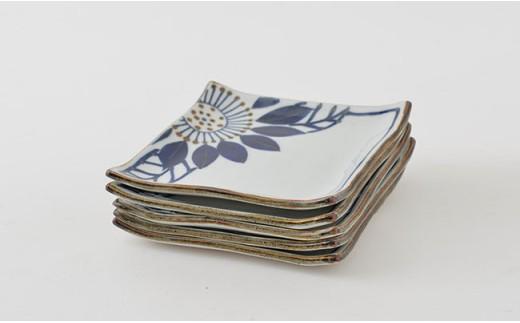 PA77 【波佐見焼】藍の器ブルーメ14cmプレート5枚セット【福田陶器店】-6