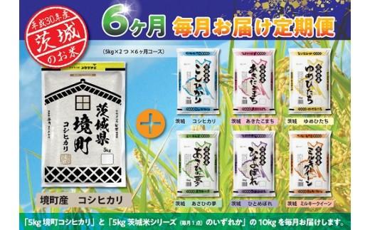 1063 【毎月お届け】茨城県産お米食べくらべ定期便 6回コース(合計60kg)