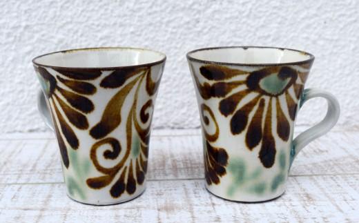 【やちむん市場】マグカップ2個セット唐草紋アメ
