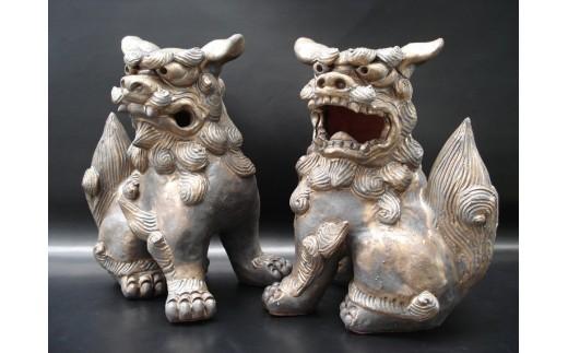 やちむん 本格シーサー【燻し金色】陶器製/ペア/大サイズ