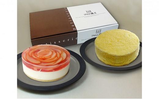 [№5564-0010]桃のレアチーズケーキとドゥーブルフロマージュセット