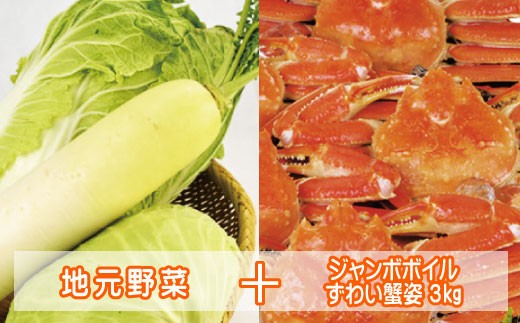 P-10.地元野菜とジャンボボイルずわい蟹姿3kg