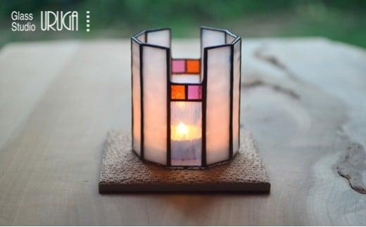[9C-1]ステンドグラス キャンドルスタンド 雪灯り(ゆきあかり)
