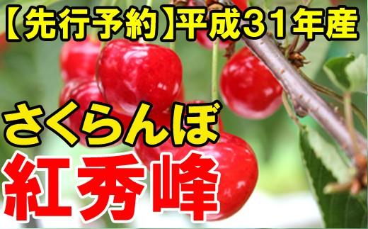 【先行予約】平成31年産さくらんぼ(紅秀峰)約1kg