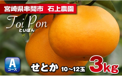AF-3 【数量限定】串間市都井『石上農園』の高級柑橘せとか3kg(Toipon)
