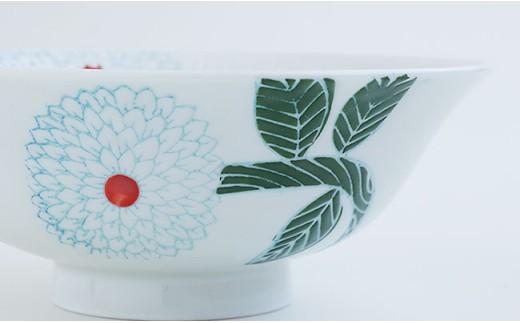 CD02 【波佐見焼】ダリア柄マルチ碗ペアセット(小皿付)【勲山製陶】-7
