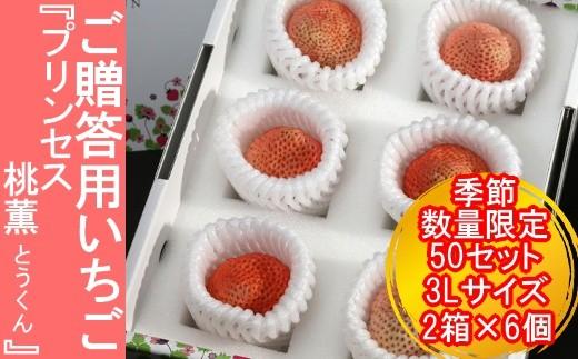 (02006)【季節・数量限定50セット!】いちご『プリンセス桃薫」3Lサイズ2箱×6個 ご贈答用