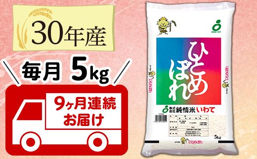 H05-9N【9ヶ月連続お届け】岩手県産ひとめぼれ5kg(30年産)