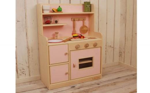 【家具職人手作り】ままごとキッチン「DXハイタイプ」(ピンク) 30-S858