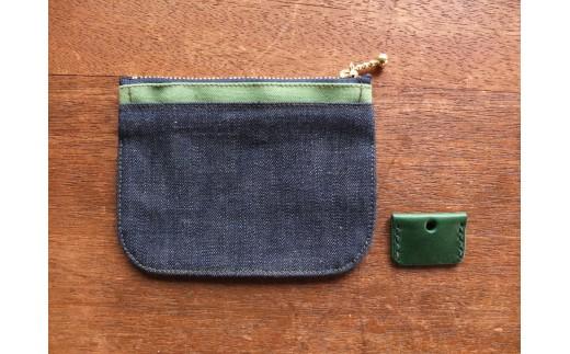 ミニ財布(グリーン)&キーカバー(グリーン)