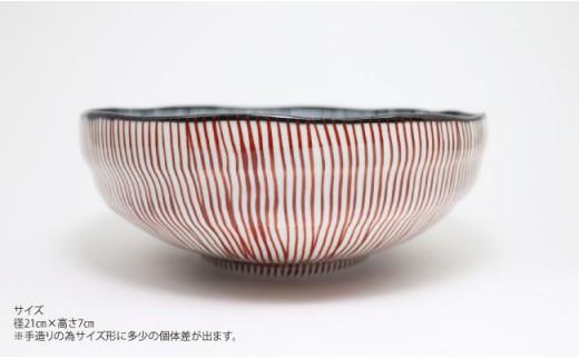 TC05 【波佐見焼】古染内外十草手造もてなし鉢(朱)【協立陶器】-2