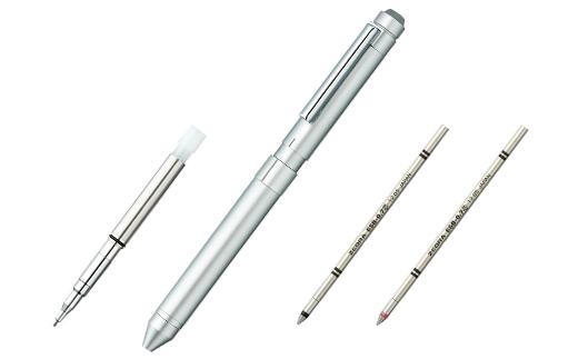 ゼブラ「シャーボX」ST3(カラー:シルバー)3色回転式ボールペン+替え芯