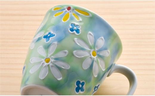 DC22 【波佐見焼】コスモス小花茶碗+マグカップピンク・グリーン2色セット-4