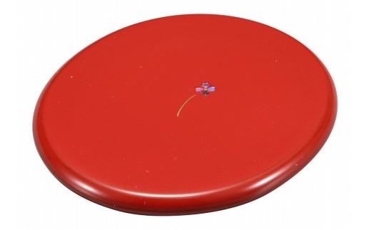 輪島塗 手鏡(丸型蒔絵、赤)