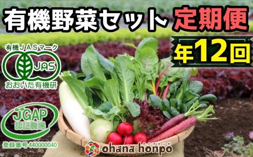 有機JAS認証★ohanaのオーガニック野菜セット定期便≪年12回コース≫~無農薬・無化学肥料の野菜を8品目お届け~