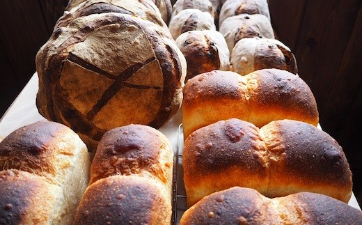 B0-2116 薪窯焼き自家製酵母パン4種と自家栽培ブルーベリージャムセット