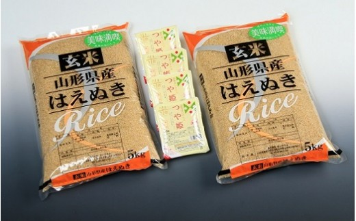 玄米はえぬき10kg+つや姫パックライス4