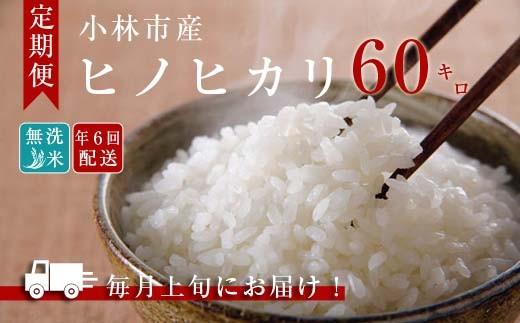 【定期便:全6回】小林産ひのひかり無洗米<10kg×6回> SNB11