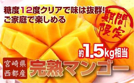 2.5-2 【先行予約・数量限定】ご家庭で楽しむお得な西都産完熟マンゴー (JA西都) 約1.5kg入