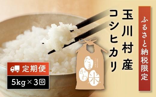 FT18-076  ふるさと納税限定!玉川村産 コシヒカリ 5kg×3回
