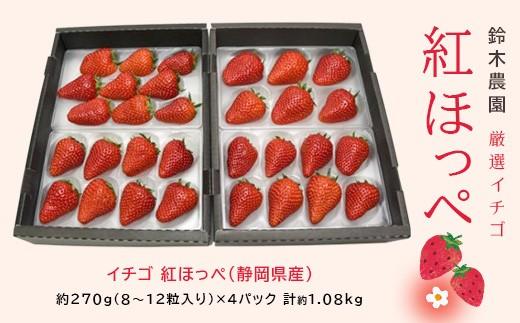 167 厳選イチゴ 紅ほっぺ(静岡県産)270g×4 鈴木農園
