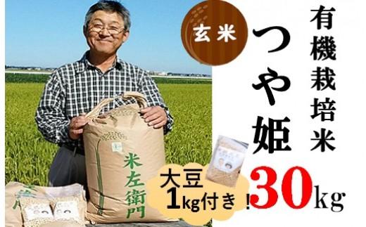 九代目又七の【玄米】有機つや姫30kg+大豆1kg