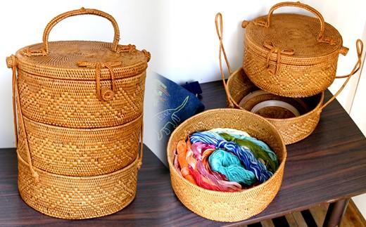 ◇バリ島発アタ製品 リボン付き3段重バスケット(直径20cm)