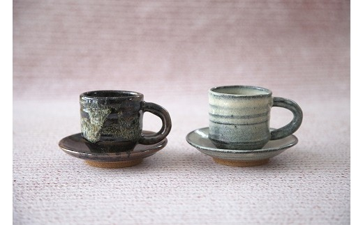 E-06 阿仁焼 コーヒー碗・皿 黒・白セット