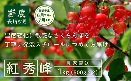 013-A01 【さくらんぼ】2019年産紅秀峰 1kg詰 発泡スチロール梱包