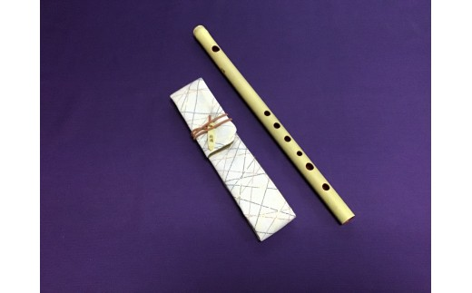 篠笛楽遂 6孔ドレミ八笨調子(C調)、笛袋と篠製こはぜ付。