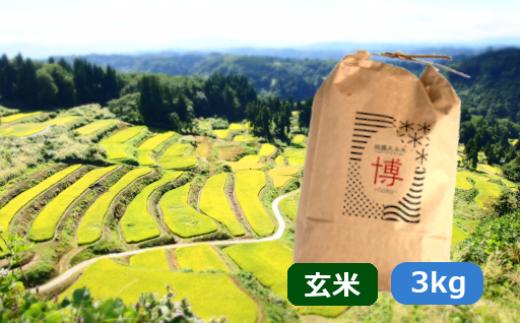 ここで採れた魚沼産コシヒカリ棚田米「玄米」3kg 岩沢外之沢産米