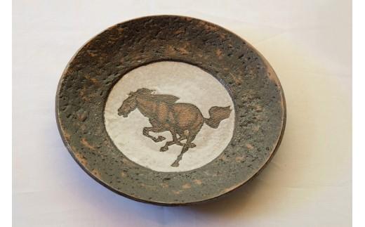 B901 ほんだ工房 いすみ焼 「馬紋皿」